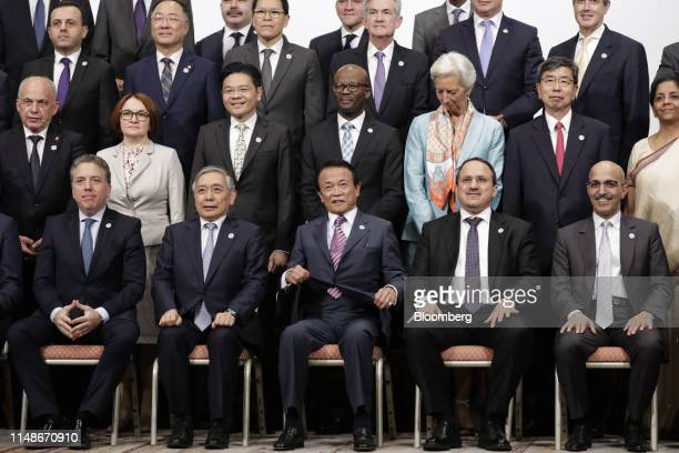 Group of 20 finance ministers and central bank governors including Nicolas Dujovne, Argentina's economy minister, front row from left, Haruhiko...