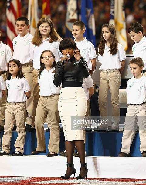 A group of 26 students from the Sandy Hook Elementary School in Newtown Connecticut perform America the Beautiful with singer Jennifer Hudson during...
