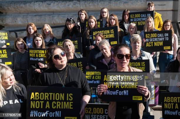 Group of 28 pro-choice demonstrators including Derry Girls cast, Nicola Coughlan and Siobhan McSweeney , who represent the number of women who travel...
