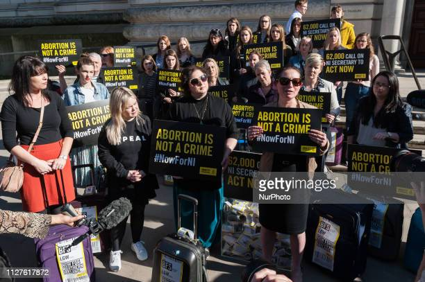 A group of 28 prochoice demonstrators including Derry Girls cast Nicola Coughlan and Siobhan McSweeney who represent the number of women who travel...