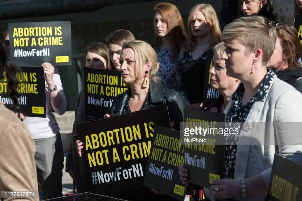 A group of 28 prochoice demonstrators including Derry Girls cast who represent the number of women who travel from Northern Ireland for an abortion...