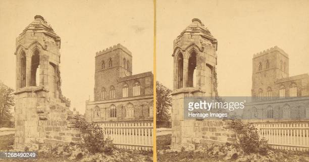 Group of 3 Early Stereograph Views of British Church and Monastery Ruins, 1860s-80s. Artist Unknown.