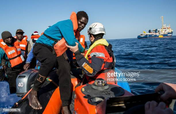 A group of 47 migrants is transfered from a rescued unflatable boat onto a Sea Watch 3 RHIB during a rescue operation by the Dutchflagged vessel Sea...