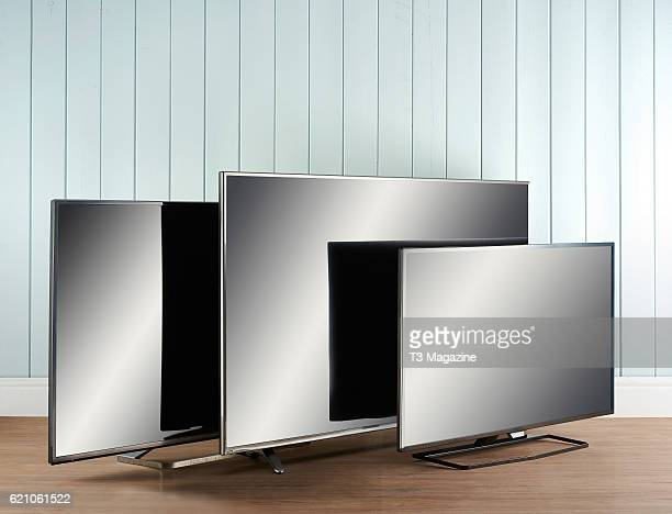 A group of 4K UHD televisions including a Panasonic TX50CX680B Hisense 55K321 and a Philips 55PUT6400 taken on February 26 2016
