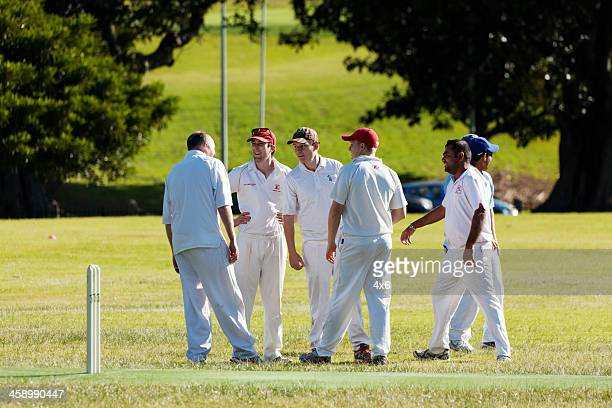 group of 6 people playing cricket - cricket pitch stock pictures, royalty-free photos & images