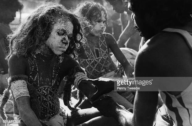 A group of Aborigine boys in ceremonial body paint await circumcision at a Navgalala initation ceremony The ceremony lasted 8 days and the boys are...