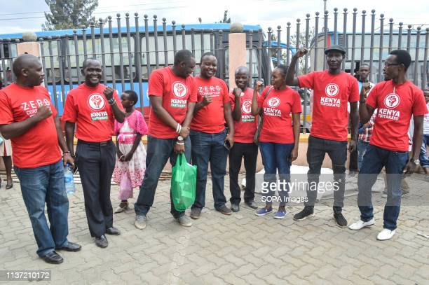 A group of activists allied to Kenyas Red Vests Movement are seen posing for a photo after a church service Activists allied to Kenyas Red Vests...