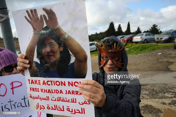 A group of activists stage a demonstration demanding the release of Palestinian prisoners in Israeli jails in Haifa Israel on March 07 2020