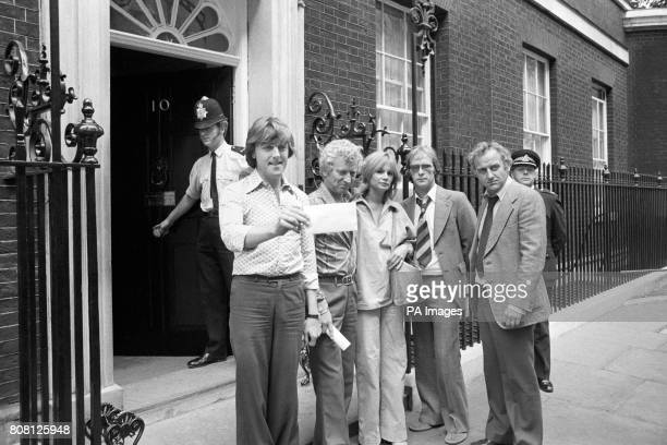A group of actors hand in a petition at No10 Downing Street protesting over Thames Televisions decision to cancel a new series of popular crime drama...