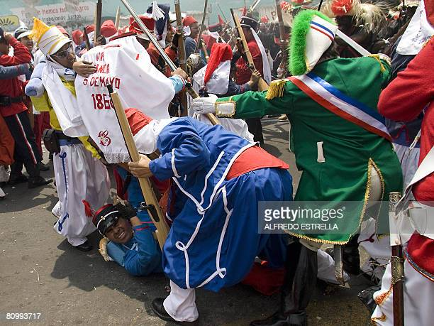 A group of actors reenact the Batlle of Puebla to commemorate their defeat over the French Army in Mexico City on May 5 2008 Mexico's public holiday...