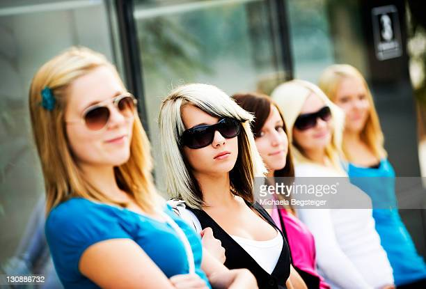 group of adolescent girls between 13 and 17 years old - 12 13 years stock pictures, royalty-free photos & images