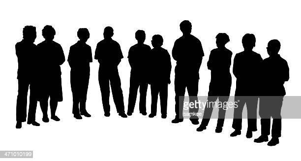Gruppe von Erwachsenen, Raster
