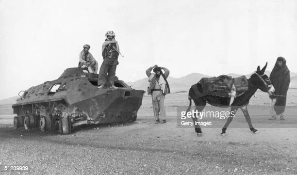 1979 A group of Afghan soldiers with Soviet Army tank stop in the desert with a donkey Afghan Civil War