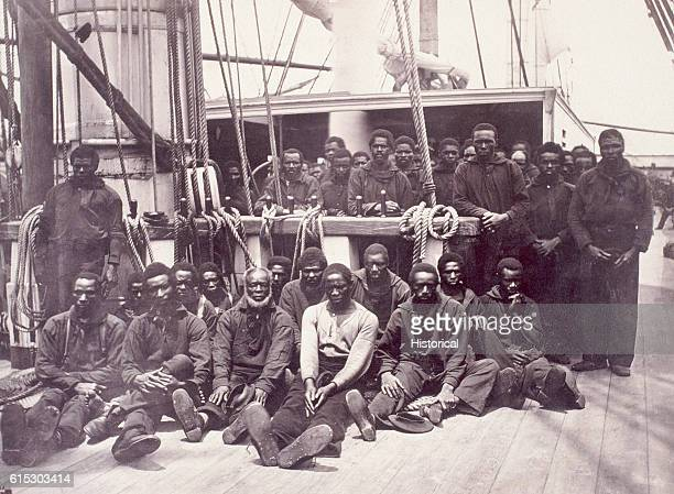 Group of African Americans aboard the USS Vermont. The United States Navy employed thousands of freed slaves during the Civil War.