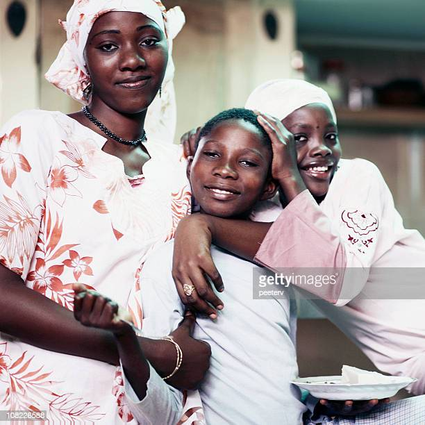 group of african children and teenage girl - nigerian girls stock photos and pictures