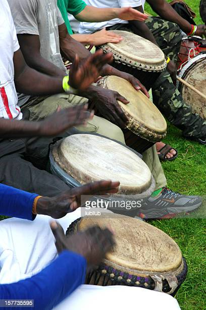 Group of African men playing  drums during carnival in Copenhagen