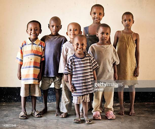 group of african orphan children - underweight stock photos and pictures