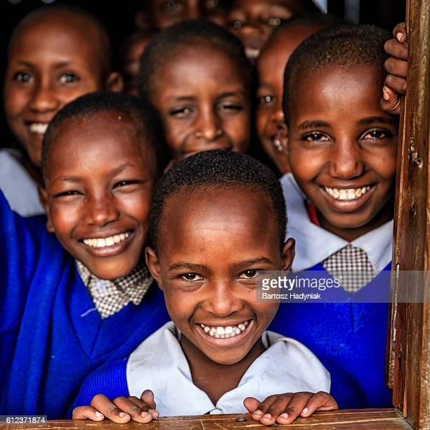 Group of African school children inside classroom, Kenya