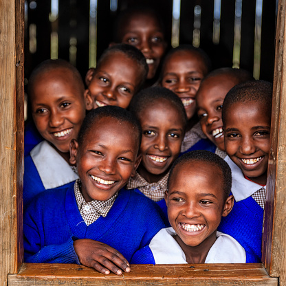 Group of African school children inside classroom, Kenya 618744284