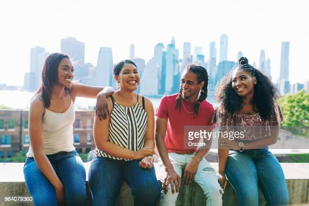 Group of African-American youth chilling on city break in NYC