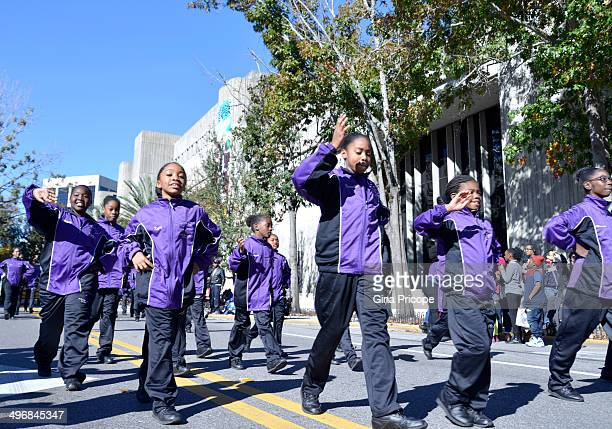 Group of Afro-American girls during the parade of Martin Luther King in Orlando, Florida, January 18, 2014