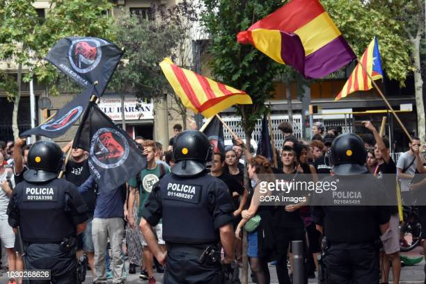 A group of agents of the Catalan Police seen making a cordon of security before the counterdemonstration of the UCFR during the demonstration against...