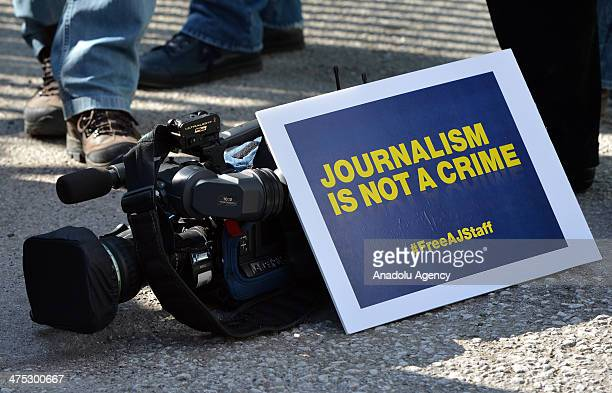 A group of Al Jazeera Arabic journalists gather to demonstrate outside the Egypt Embassy building demanding the release of Al Jazeera Arabic network...