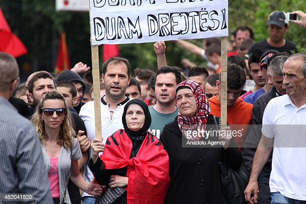 A group of Albanian people take part in a demonstration against the decision of the court for Monstrum Case as life sentence to 6 Albanians charged...