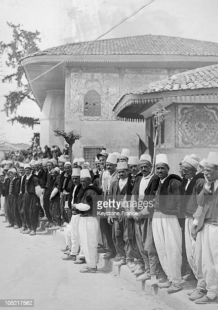 Group Of Albanians In Traditional Dress Waiting For King Zog 1St And His Wife Queen Geraldine To Pass By In A Street Of Tirana On April 27 1938