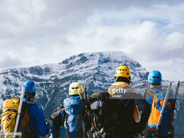 group of  alpine climber team is watching the beautiful landscape  in the peak of mountain in winter - sports team stock pictures, royalty-free photos & images