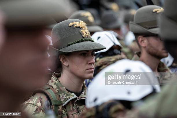 A group of 'Alpini' troops stand ahead of a parade during the 92nd Alpini National Reunion on May 12 2019 in Milan Italy The 'Alpini' are a...