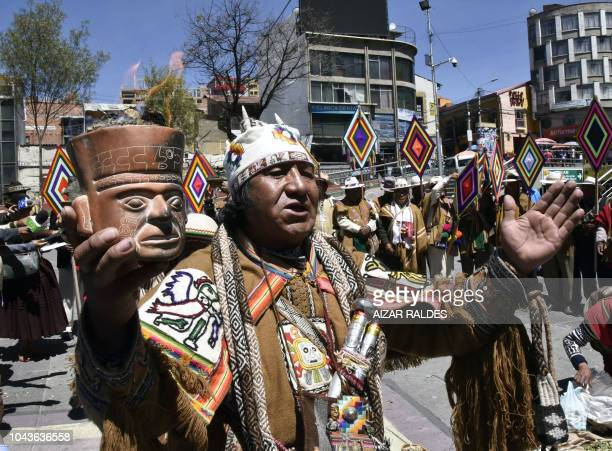 A group of Amautas perform a ritual in La Paz to send their energy to judges in the Haguebased International Court of Justice to rule in favour of...