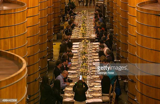 A group of America's top wine sommeliers enjoy a dinner in the Jordan Winery barrel room on November 9 near Healdsburg California Following the...