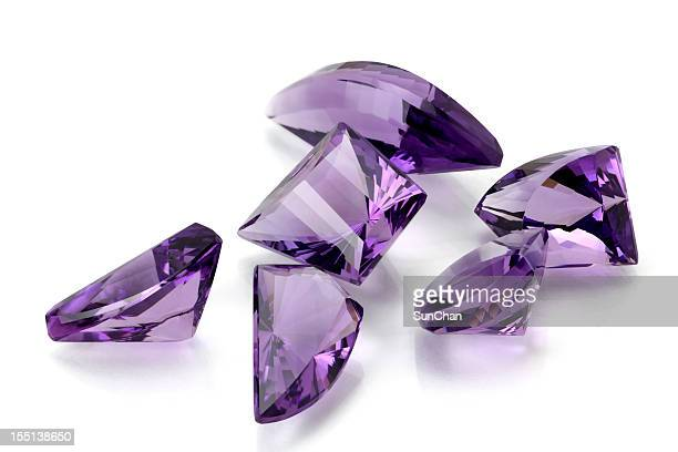 group of amethyst in free form - amethyst stock photos and pictures