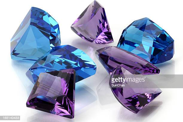 group of amethyst & topaz or aquamarine - topaz stock photos and pictures