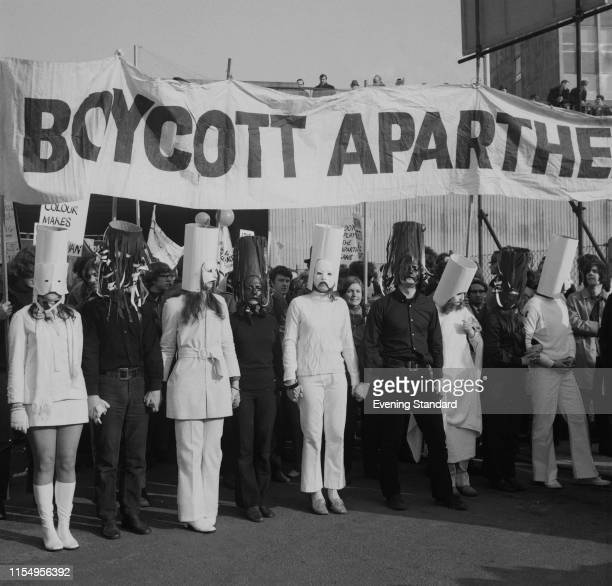 Group of Anti-Apartheid protesters outside Twickenham where Barbarians FC are playing a match against South Africa national rugby union team, London,...