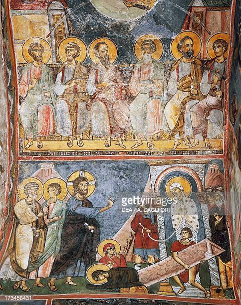 Group of apostles and resurrection of Lazarus Byzantine church of Our Lady of Asinou Troodos mountains Cyprus Detail