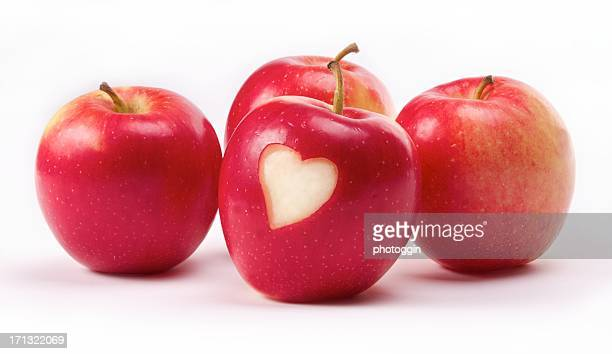 Group of Apples with Heart Symbol
