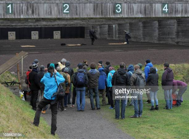 A group of Arctic reasearchers arrive at a shooting range in Altenwalde Germany 28 January 2016 Scientists of the German AlfredWegenerInstitute for...