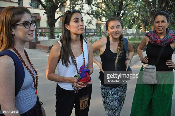 A group of Argentinean women who came to visit the Russian Acid attack victim at BHU on November 14 2015 in Varanasi India The 23yearold Russian...