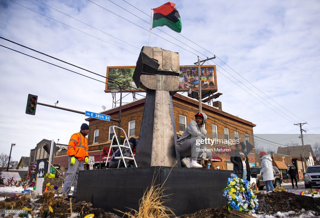 Sculpture Installed In George Floyd Square In Minneapolis On Martin Luther King Day : News Photo