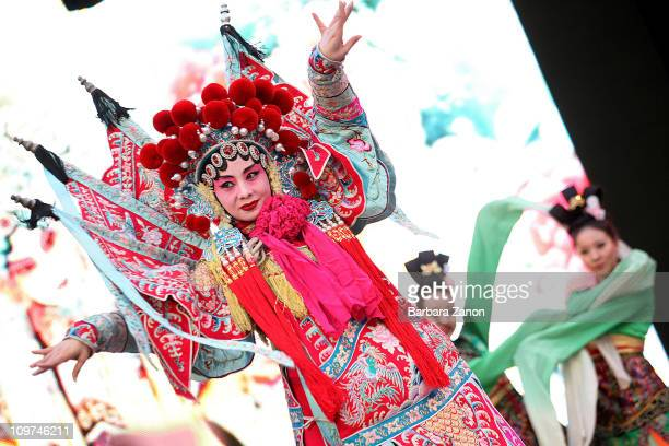 A group of artists from the Beijing Opera perform on the San Marco stage during the Venice Carnival on March 3 2011 in Venice Italy