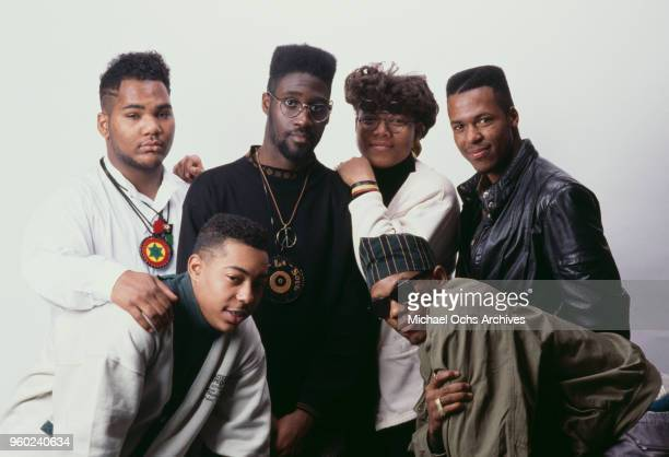 Group of artists signed to the American independent record label, Tommy Boy Records, circa 1989. They include Vincent Mason and Kelvin Mercer of De...