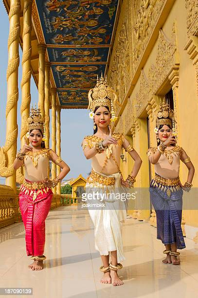 group of asian female apsara dancers - khmer art stock photos and pictures