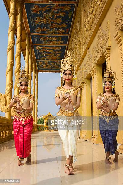 group of asian female apsara dancers - cambodian culture stock photos and pictures
