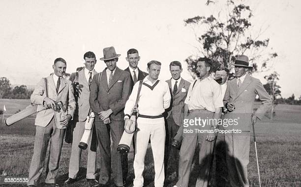 A group of Australian cricketers including Don Bradman preparing to play golf in Launceston Tasmania prior to leaving for the Ashes tour to England...