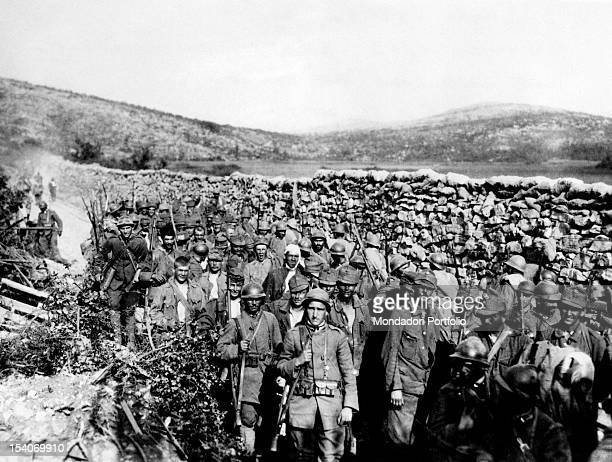 Group of Austrian soldiers has been captured by the Troops of the Entente in the area of Monte Ermada during the Tenth Battle of the Isonzo. Friuli...