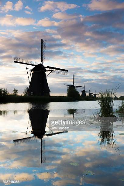 Group of authentic windmills reflection in polder dyke early morning at Kinderdijk UNESCO World Heritage Site The Netherlands