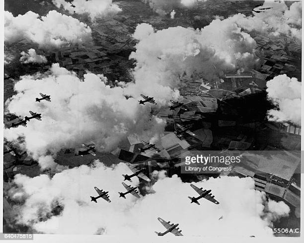 A group of B17 Flying Fortress bombers on their way to Stuttgart Germany September 6 1943 | Location near Stuttgart Germany