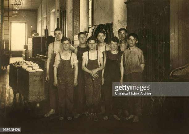 Group of Back Boys in Mule Room 14 to 16 years old FullLength Portrait King Philip Mills Fall River Massachusetts USA Lewis Hine for National Child...